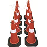 ABS INDUSTRY Road Safety Traffic Cone (8 Cones) with 8 Meters Safety Chain and 8 Hooks
