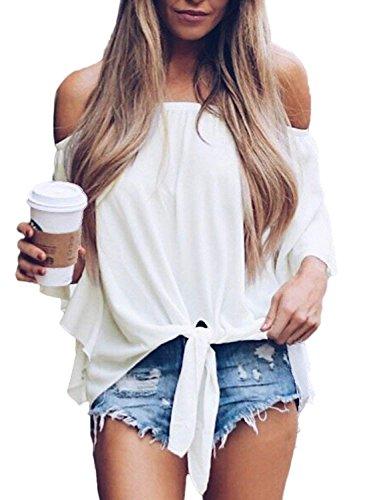 Bequemer Laden Damen T Shirt Sommer Schulterfrei Trompete Ärmel Oberteil Binden Knoten Bluse Tops Plain Weiß S