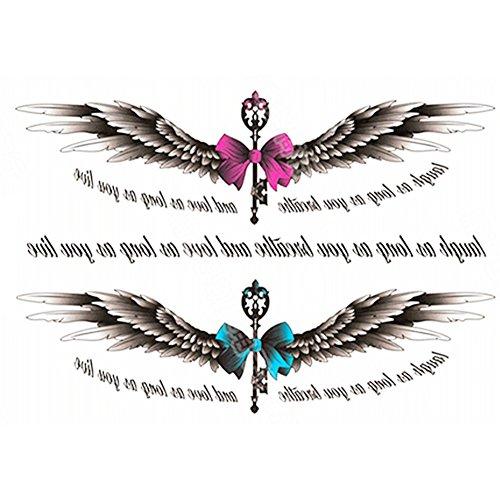 Rocita adesivi per tatuaggi temporanei autoadesivo del tatuaggio del corpo per le donne tatuaggio temporaneo finto impermeabile nuovi disegni body art (1pc wings1)
