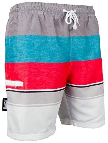 Luvanni Herren Badeshorts Beachshorts Boardshorts Badehose Schwimmhose Männer mit Streifenmuster blau rot grau Streifen *High Quality Print* Grau Rot S