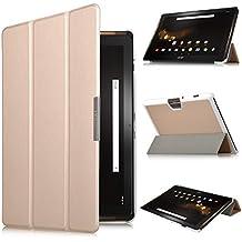 Acer Iconia Tab 10 A3-A40 Funda Case - IVSO Slim Smart Cover Funda Protectora de Cuero PU para Acer Iconia Tab 10 A3-A40 10.1-inch Tablet(Oro)