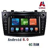 Wekuo 4 G RAM 20,3 cm 1024 x 600 Touchscreen Android 8.0 Auto DVD Stereo für 2010 2011 2012 2013 Mazda 3 Auto GPS Radio Tape Recorder