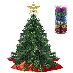 Ensemble Arbre de Noël Miniature Prextex de 55 cm à Monter, avec cimier étoile et décorations suspendues pour Votre décor de fêtes