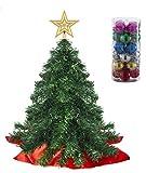 Prextex Mini Albero di Natale da Tavolo 56 cm con Puntale a Stella e Ornamenti Appesi per Le Decorazioni di Natale Fai-da-Te