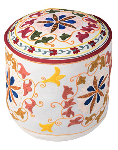 Indian Ottoman White Cotton Floral Embroidered Pouf Cover By Rajrang