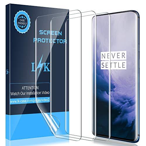 LK [3 Stück] Schutzfolie für OnePlus 7 Pro (6.7 Zoll), OnePlus 7 Pro Folie [Fingerabdruck-ID unterstützen] [Blasenfreie] Klar HD Weich TPU Folie [Lebenslange Ersatzgarantie]