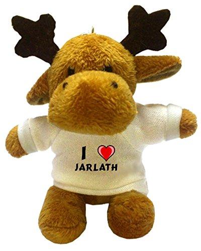 Moose Plush Keychain with I Love Jarlath (first name/surname/nickname)