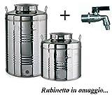 Megashopitalia Contenitore Bidone Fusto per Olio in Acciaio Inox 15 30 50 Litri Made in Italy con Guarnizione per Il Tappo e Rubinetto da 1/2 Pollice Incluso (30 Litri)