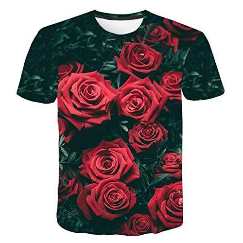 Bedruckte Herren T-Shirts für den Sommer Vintage und Urlaub Lässige Neuheit Cool Travel T-Shirt mit kurzen Ärmeln,3D gedrucktes rosarotes XL 6-tier-system Bin