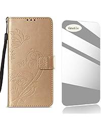 THRION iPhone 6 Plus Funda, Patrón de Flor de Mariposa PU Cuero Funda[Tapa para Tarjetas][Gratuito Protector de Pantalla de Vidrio Templado ]para Apple iPhone 6 Plus/6s Plus - Oro