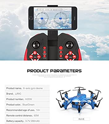 Dewang H20W Mini Drone With HD Camera 2.0 MP Drone RC Helicopter FPV WIFI 4 Channel 6 Axis Gyro Quadcopter Remote Control Spy System Radio Wireless Flip Fly 3D Rotation 360 Degree Eversion LED Headless One Key Control Christmas Gift