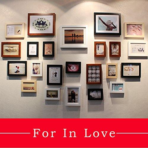 SQZH Extra legno spessa 23 box a forma di cuore parete foto parete di telaio creative regalo anniversario cornice immagine combinazione,quattro-mix di colore