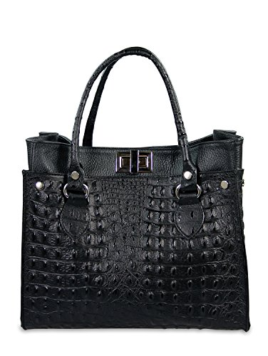 IO.IO.MIO ital. echt Leder Tasche Handtasche Damen Shopper Henkeltasche Frauen Handtaschen Taschen Tragetasche Lederhandtasche Kroko Prägung u Glattleder schwarz