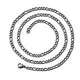 tumundo Zarte Figaro-Kette Halskette Ø 3mm Edelstahl-Kette Silbern Golden Schwarz Armband Panzerkette Königskette Unisex, Farbe:Silber - 60cm