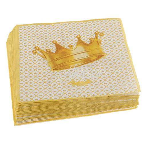 Kodoria 100-Pack Einweg Papierkrone Servietten Party Tissue Servietten Geburtstag Party Geschirr Taufe Dekoration