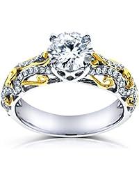 Forever Classic Moissanite anillo de compromiso de diamantes & 11/6de quilate en 14K de dos tonos oro _ 4.0