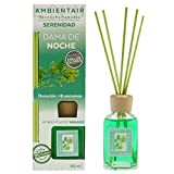 Ambientair Mikado Ambientador para Hogar, Aroma Dama de Noche, Cristal, Verde, 6 x 6 x 19 cm
