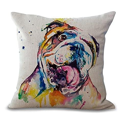 Housse de Coussin Creative Bulldog Cotton Linen Decorative Throw Pillow Case Cushion Cover,#5,45*45CM