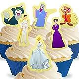 12 x Vorgeschnittene und Essbare Aufrecht Stehende Disney Cinderella Kuchen Topper (Tortenaufleger, Bedruckte Oblaten, Oblatenaufleger)