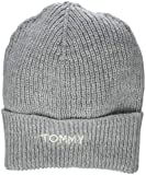 Tommy Hilfiger Damen Strickmütze Effortless Knit Beanie, Grau (Light Grey Heather 050), One Size (Herstellergröße: OS)