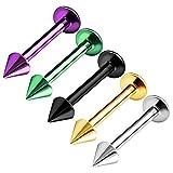 BanaVega 5 Anillos de Acero Inoxidable para Labio de 3 mm, Calibre 16, Diseño de Pinchos, para Cartílago de Auricle, para Piercings de Monroe, Ver Más Tamaños