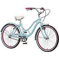 "Schwinn Girls Sanctuary Kids Beach Cruiser Bike, Blue & Pink, 24"" (Age 7+)."
