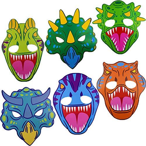 BESTZY Dinosaurier Masken, 24 Stück Tiermasken für Kinder Lustig für Geburtstagsfeier Dinosaurier Rollenspiel Dekoration Geschenk