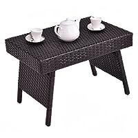 CASART Rattan Wicker Sofa Side Coffee End Table Laptop Desk Patio Storage Shelf Indoor/Outdoor Furniture (Style 1)