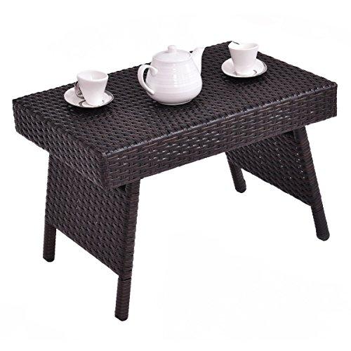 CASART Rattan Sofa Seite Kaffee Ende Tisch Laptop Schreibtisch Terrasse Möbel-Ablage