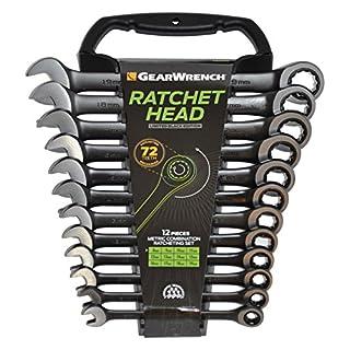 GearWrench 9412BE Ringmaulschlüssel mit Ratsche Set Metrisch, Schwarz, 8 - 19 mm, 12 Stück [Limitierte Auflage]