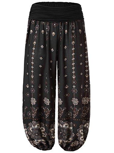 Lange Damen Hosen (Slivexy Damen Blumen Sommer Pumphose Haremshose Lange Hose Schwarz One Size)