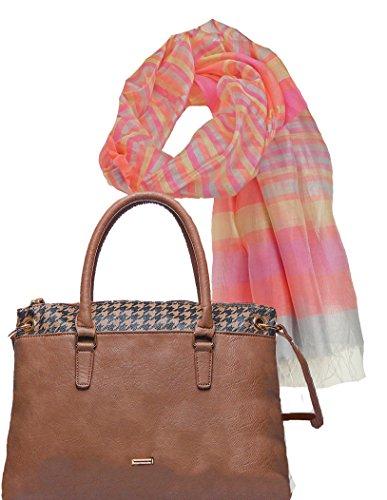 Portogarda Moden Extravagante City Damenhandtasche, Shopper Tasche mit Hahnentritt Muster im Set mit Seidenschal -