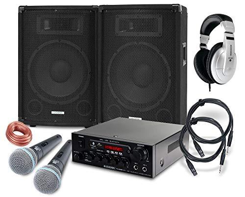 McGrey DJ Karaoke Komplettset PA Anlage Party-1500 (Lautsprecher, 2 x 400 Watt, Bluetooth-Endstufe, Verstärker, Lautsprecherkabel, Kopfhörer, Mikrofon, Klemme, Reduziergewinde, Tasche, Mikrofonkabel)