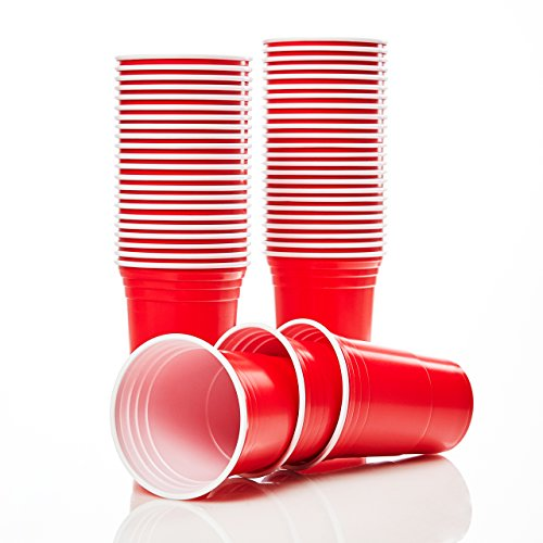 Lumaland Partybecher 100 Stück 16 oz Beer Pong Trinkbecher extra Starke Plastikbecher rot (Red Party Cups)