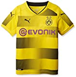 Puma Kinder BVB Kids Home Replica Shirt with Sponsor Logo Fußball T-Shirt, Cyber Yellow Black, 128