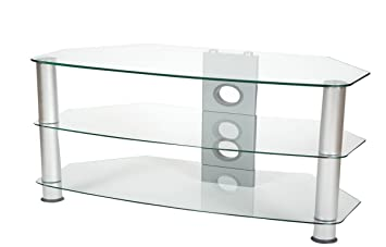 brisa 1000mm clear glass tv stand for up to 50 inch