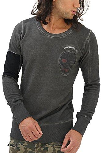 trueprodigy Casual Herren Marken Sweatshirt mit Aufdruck, Oberteil Cool und Stylisch mit Rundhals (Langarm & Slim Fit), Sweatshirt für Männer, Größe:L, Farben:Anthrazite