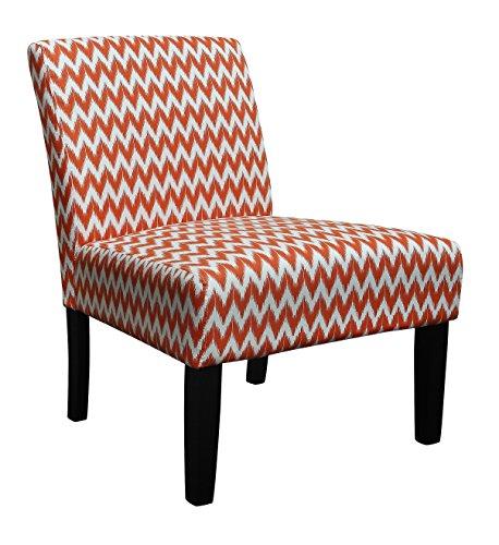 Riana Ocasional - Sillón moderno para dormitorio, sala de estar, color negro, piernas, tela, turquesa, naranja, blanco, patrón de zigzag, gama St. Moritz