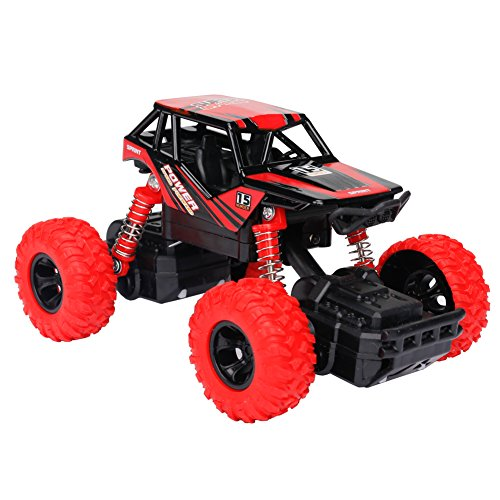 ad Monster Truck Geländewagen mit Licht, Musik, Gummireifen, Stoßfest mit Feder, Maßstab 1:32 (Rot) ()