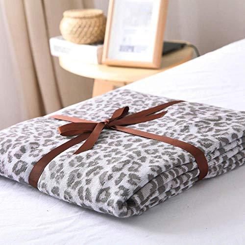 OGAWOO Manta Tejida algodón Leopardo sofá Cama Manta