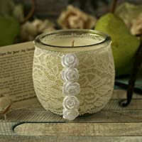 Pear and Vanilla Scented Soy Candle, White Wedding Gift for Couple, Lace Anniversary, 20 H Burn Time