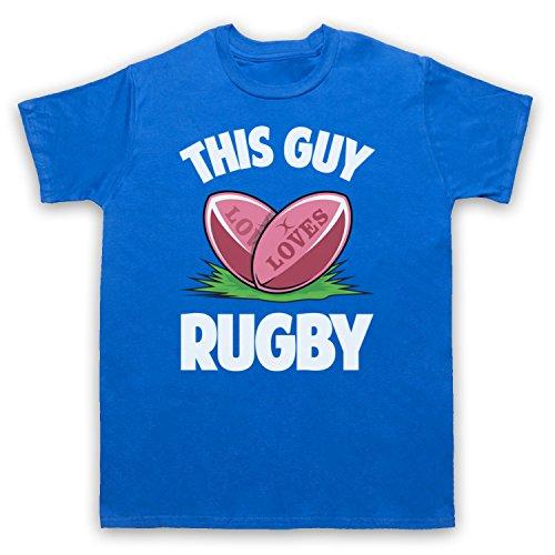 This Guy Loves Rugby Rugby Slogan Herren T-Shirt Blau