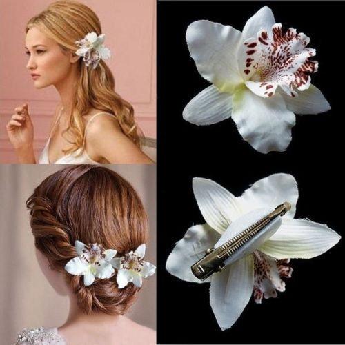 Musuntas 8 pcs 4 couleurs Bohemia Style mariée Fleur Orchidée Léopard Pince à cheveux Beauté Hairpin Barrette Décoration de mariage Accessoires Cheveux de plage Coton