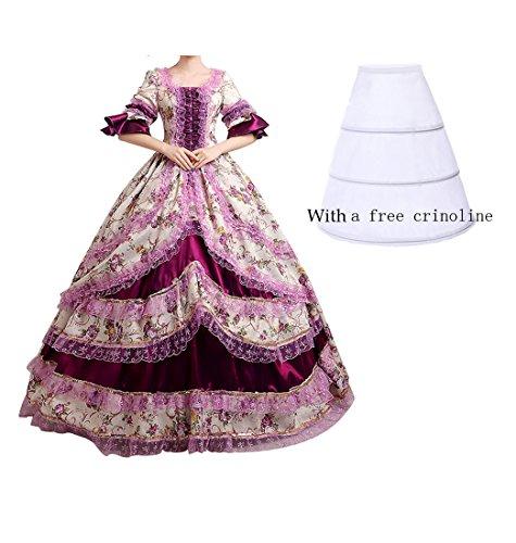 Nuoqi reg;Damen Satin Gothic Victorian Prinzessin Kleid Halloween Cosplay Kostüm (34, CC2377A)