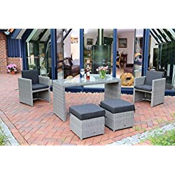 Destiny Sitzgruppe Gartenmöbelset Napoli II Balkonset 2 Sessel, 2 Hocker 1 Tisch