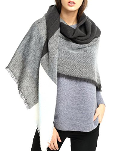 VLUNT Damen Winter klassische Schal lange weich Wraps grosse Schal Deckenschal Herbstschal Winterschal (grau-weiß)