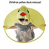 Hansee Regenmantel Kinder, Netter Regen-Mantel UFO-Kind-Regenschirm-Hut-Magische Hände Geben Regenmantel Frei (Gelb, S)