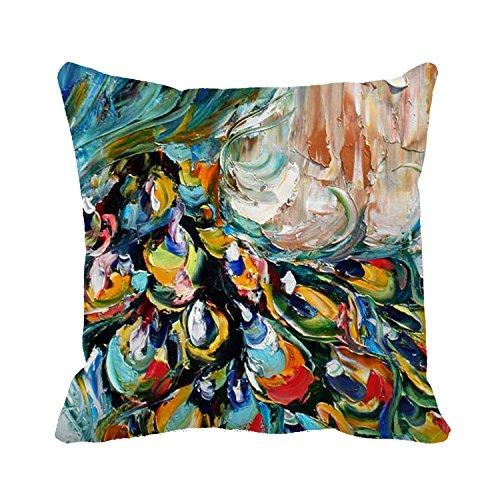 okoukiu lona de algodón pintura al óleo pavo real cuadrado manta decorativa Funda de almohada Funda de cojín 18*18
