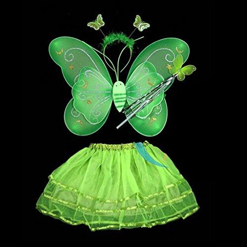 4 Stück Schmetterlings-Flügel-Stab-Stirnband-Kleid-Mädchen-Fee Prinzessin Kostüm Schule Showbühne Fotografie Prop (grün)