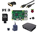 Raspberry Pi 3 Model B Starter Kit UK Version (4) Gehäuse / 2,5 A Netzteil / 8GB Noobs / HDMI Kabel mit Ethernet / DVI Adapter / 2er Set Kühlkörper